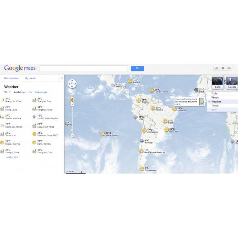 Ahora en Google Maps podes ver el pronóstico del tiempo