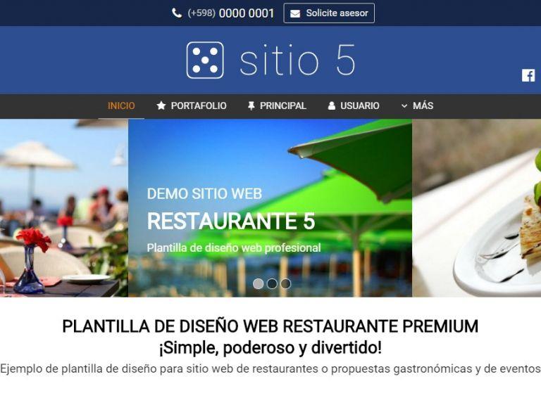 Ejemplo de plantilla #5 para diseño de sitio web institucional corporativo. - RESTAURANTE 5 . Diseño sitio web institucional