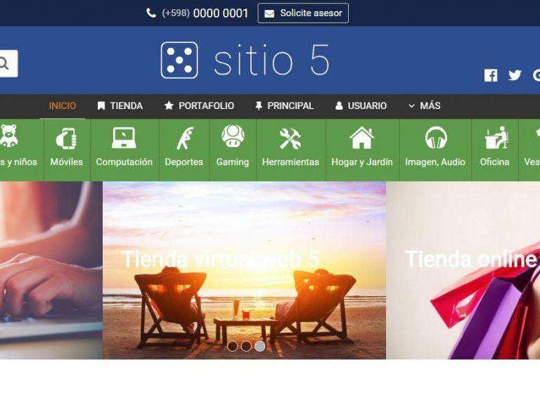 Demo de diseño web para tienda online de productos con ecommerce - TIENDA 5 . tienda virtual
